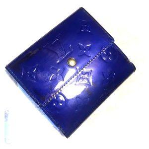 Authentic Blue Vernis Monogram Trifold Wallet